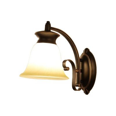 1/2-Light Bell Wall Light Sconce Traditional Black Opal Glass Wall Mount Lamp for Bedside