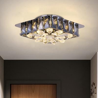 4 Lights Flush Mount Modernism Square Amber/Smoke Gray Crystal Ceiling Light Fixture for Bedroom