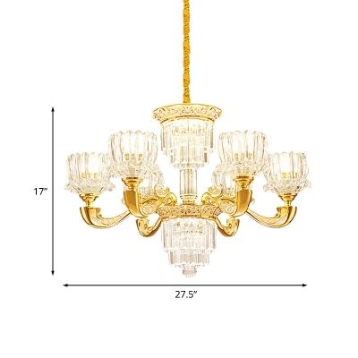 6/8 Lights Crystal Block Pendant Modernist Gold Lotus Dining Room Chandelier Lamp Fixture
