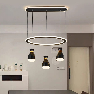 Acrylic Bottle Cluster Pendant Light Contemporary 3 Heads Black Ceiling Lamp with Ring for Dining Room