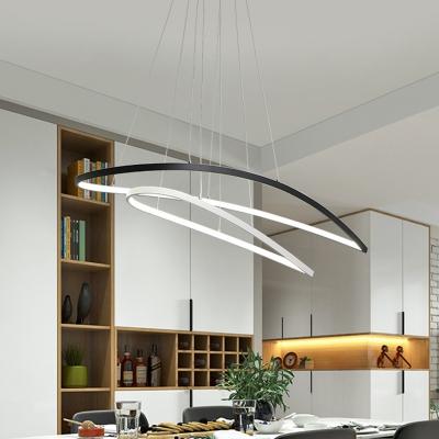 Aluminum Oval Frame Chandelier Modernist Black and White LED Ceiling Pendant for Dining Room in Warm/White Light