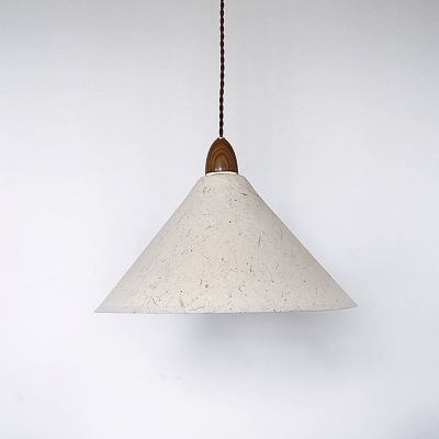 Asian Style 1 Light Hanging Lighting White Conic Pendant Lamp Fixture with Paper Shade
