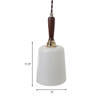 Brown Bell Suspension Light Vintage 1 Bulb Milk White Glass Ceiling Pendant Lamp