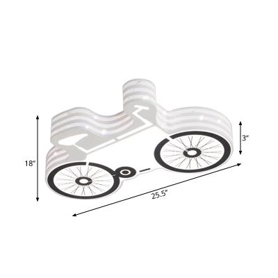 Cartoon LED Ceiling Flush White and Black Bike Flush Mount Light Fixture with Acrylic Shade