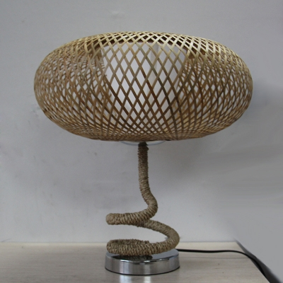 Flaxen Cross-Woven Oval Night Light Country 1 Head Bamboo Rattan Table Lighting with Spiral Rope Base