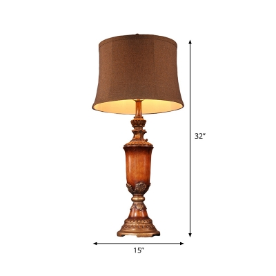 Flaxen Curved Drum Table Light Countryside Fabric 1 Head Bedroom Night Stand Lamp