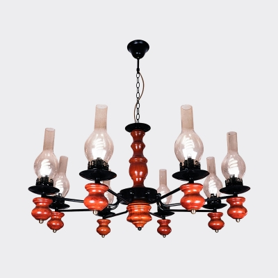 Kerosene Bistro Ceiling Chandelier Warehouse Clear Glass 8-Light Red Brown Hanging Pendant