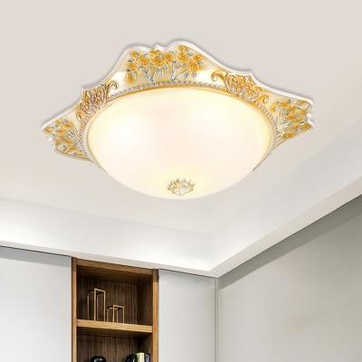 LED Domed Flush Ceiling Light Countryside Yellow Finish Milky Glass Flushmount Lighting, 12