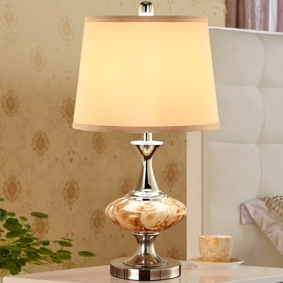 Nickel 1-Light Night Lamp Vintage Gradient Amber Glass Oval Table Lighting with Fabric Lamp Shade