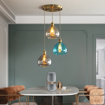 Retro Raindrop Stained Glass Drop Pendant 3 Bulbs Multiple Hanging Light in Brass with Round/Linear Canopy