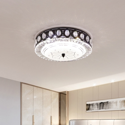 Round Metallic Ceiling Mounted Fixture Modern LED Bedroom Flush Lighting in Black with Crystal Accent