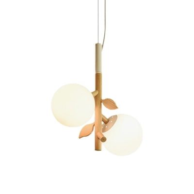 White Frosted Glass Ball Hanging Chandelier Modernist 2/3 Heads Wood Ceiling Pendant Lamp with Vertical Branch Rod