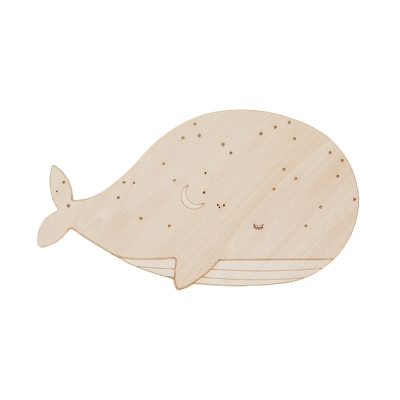 Wood Whale Shape Wall Sconce Lighting Cartoon LED Wall Mounted Lamp Fixture, Left/Right