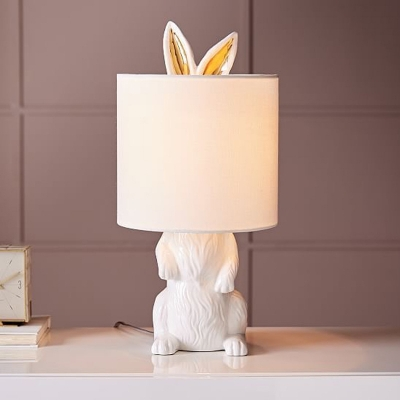 1-Light Rabbit Table Lamp Countryside White Resin Nightstand Light with Fabric Shade