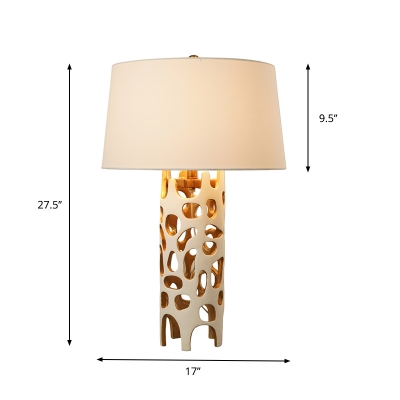 1-Light Resin Table Light Modern Style White and Gold Inner Cylindrical Cutouts Night Lamp with Tapered Fabric Lampshade