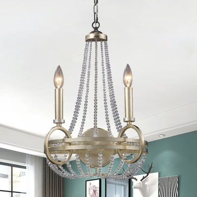 2 Heads Chandelier Light Antique Candle Crystal Beaded Pendant Lighting in Silver, HL620419