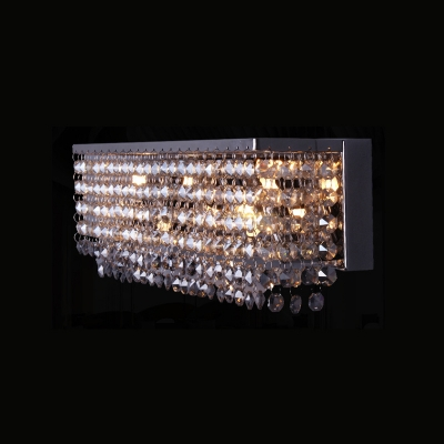 3/4 Bulbs Sconce Light Fixture Modernist Rectangle Faceted Crystal Wall Mounted Lamp in Chrome