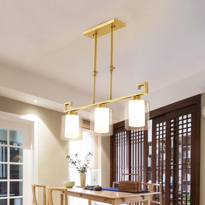 3 Lights Island Pendant Traditional 2-Shade Cylindrical Clear and Frosted Glass Hanging Lamp in Brass