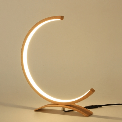 Black/Gold C-Shape Table Lamp Contemporary Acrylic LED Desk Light with Arch Base for Bedroom