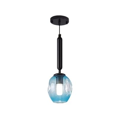 Black/Gold Finish Tulip Ceiling Light Modernist 1 Light Blue/Smoke Gray Dimpled Glass Suspended Pendant Lamp