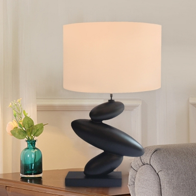 Black Pebble Table Light Rural Resin 1 Light Sitting Room Night Lamp with Round Fabric Shade