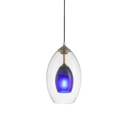 Dual Oval Clear-Blue Glass Pendant Lamp Modern 1 Light Brass LED Ceiling Suspension Light for Bedside