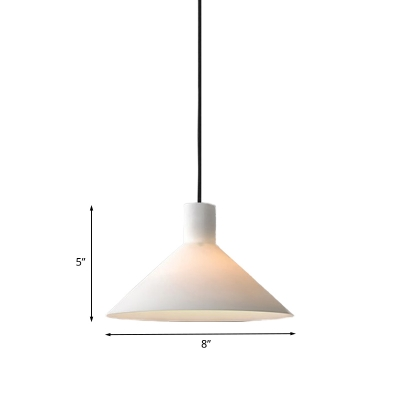 Minimalist 1-Head Pendant Lamp Black Wide Flare Hanging Ceiling Light with White Glass Shade