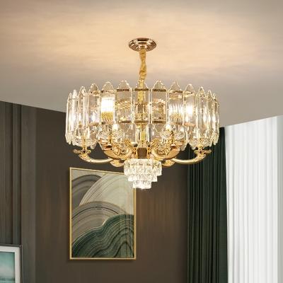 Modernist Drum Hanging Chandelier 10 Bulbs Crystal Block Ceiling Suspension Lamp in Gold