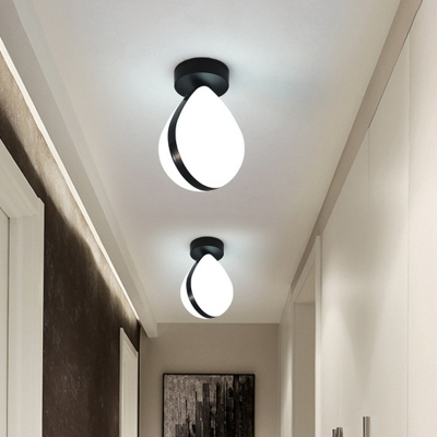 Modernist LED Flush Light Black and White Waterdrop Ceiling Flush Mount with Acrylic Shade for Hallway in Warm/White Light