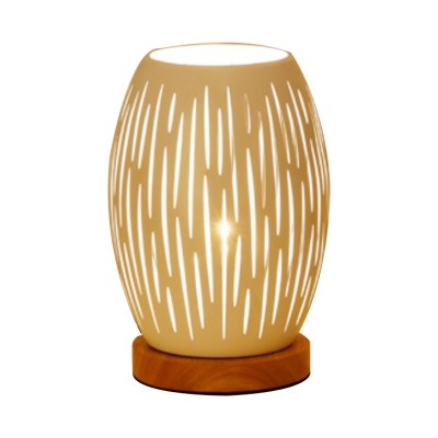 Oval Bedroom Night Table Lamp Metal 1 Light Contemporary Nightstand Lamp in White with Hollow Out Design