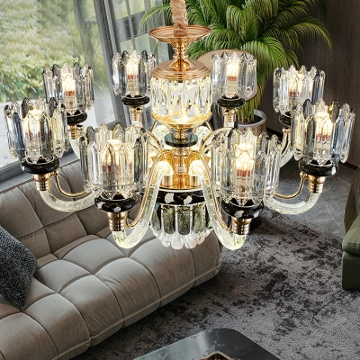 Scroll Arm Living Room Chandelier Traditional Crystal Block 6/8-Head Gold Ceiling Pendant Lamp, HL615860