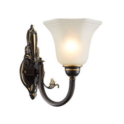 Vintage Flower Up Wall Lighting 1/2-Bulb Milk White Glass Wall Mounted Lamp in Brass/Black and Gold