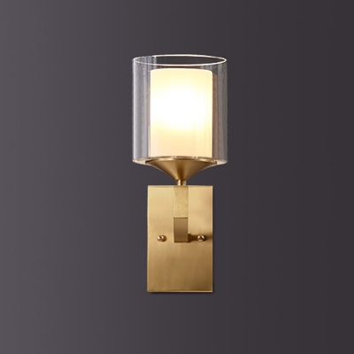 1 Bulb Wall Lighting Fixture Clear and Matte Glass Retro Bedroom Wall Sconce with Dual Pillar Shade