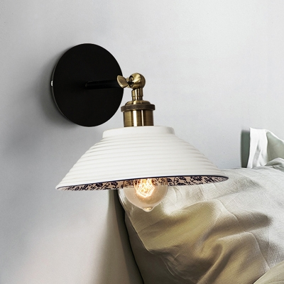 1-Light Wall Hanging Light Pastoral Style Ceramic Wall Mounted Lamp for Bedroom in White