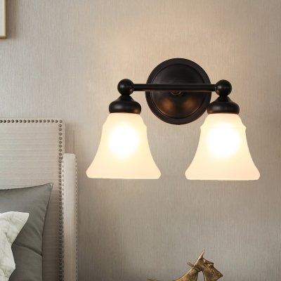 2-Head Wall Sconce Traditional Flared Opal Glass Wall Mount Light Fixture in Black