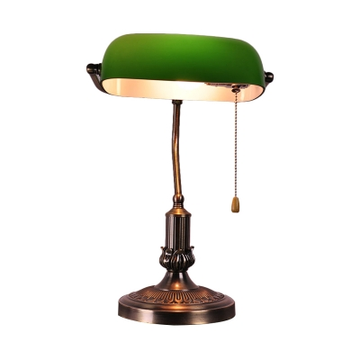 Antiqued Brass 1 Bulb Night Lamp Retro Green Blown Glass Half Capsule Table Light with Bend Arm and Pull Chain