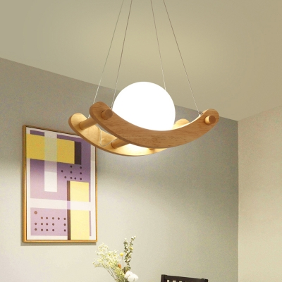 Arced Wood Pendant Lighting Modernist 1 Light Beige Ceiling Suspension Lamp with Ball Opal Glass Shade