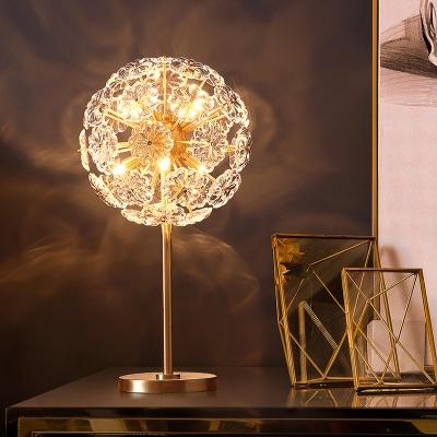 Brass Dandelion Shape Table Light Modernist Flower Crystal LED Bedside Nightstand Lamp