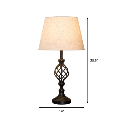 Empire Shade Living Room Table Light Traditional Fabric 1-Light White Nightstand Lamp with Twisted Cage Base