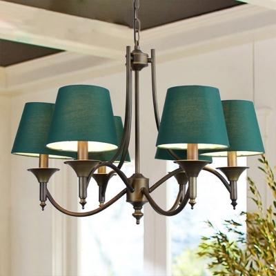 Green Barrel Ceiling Chandelier Antiqued Fabric 6 Lights Living Room Pendulum Light