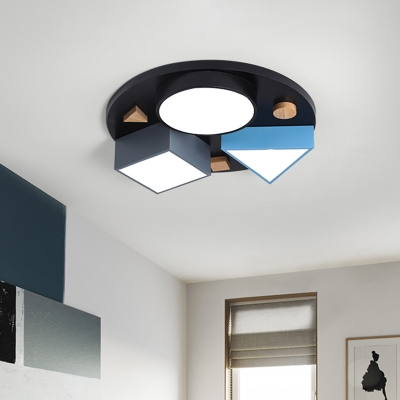 LED Bedroom Flushmount Lighting Contemporary Grey and Blue/Grey Flush Mount Lamp with Acrylic Shade, 16