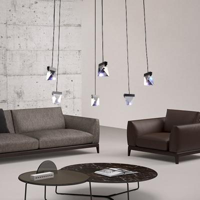 Minimalist Gem Multi Pendant Light 3/6 Head Faceted Crystal LED Suspension Lamp in Brass