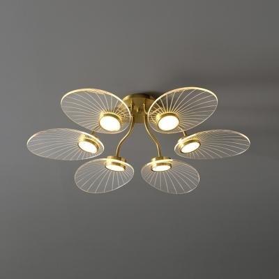 Petal Semi Flush Mount Ceiling Lamp Modernist Acrylic Brass LED Flushmount Lighting for Living Room