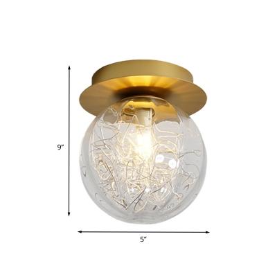 Pumpkin Ball Flush Mount Lighting Modern Clear Glass 1 Light Gold Ceiling Lamp Fixture with Metal Line Inside