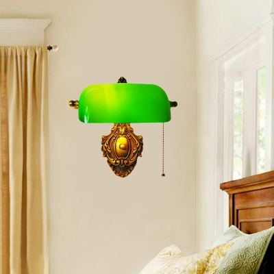 Vintage Shaded Pull-Chain Wall Lamp Single-Bulb Green Glass Sconce Light Fixture for Bedroom
