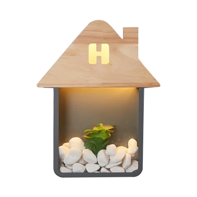 Wood House Shaped Sconce Lamp Fixture Macaron LED Wall Mount Lighting in Grey/White/Green without Stone and Plant