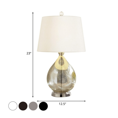 1 Head Taper Night Light Country Black/Grey/Coffee Fabric Table Lamp with Teardrop Pedestal for Bedroom