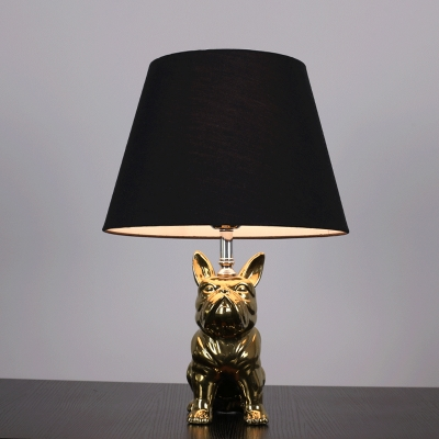 Ceramic Polished Silver/Gold Table Light Bulldog 1 Bulb Rustic Style Night Lamp with Conical Fabric Shade