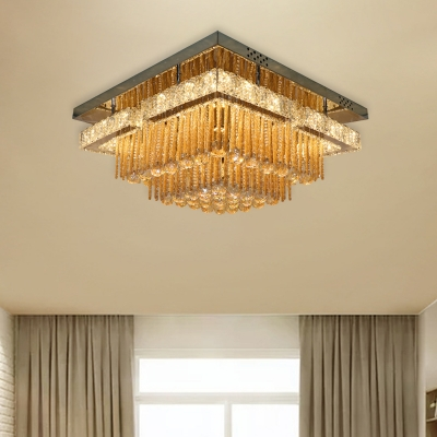 Classic Round/Square Flush Mount LED Crystal Rod and Ball Flushmount Ceiling Lamp in Chrome