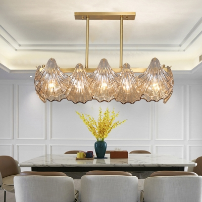 Contemporary Shell Island Lighting 8-Head Crystal Ceiling Pendant Lamp in Brass over Table